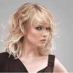 Combination form haircut on blonde woman